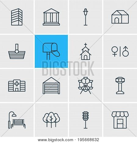 Vector Illustration Of 16 Public Icons. Editable Pack Of Clinic, Semaphore, Basket And Other Elements.