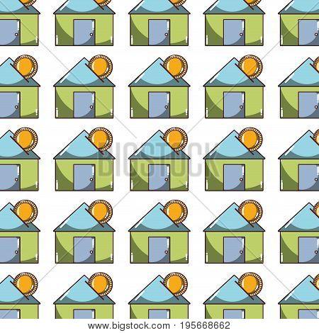 house to save cash money economy background vector illustration