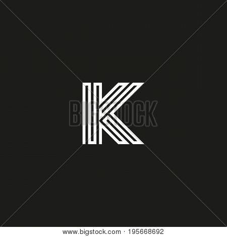 Letter K Logo Monogram. Initial Logotype Typography Mockup. Thin Line Maze Shape Design Element Temp