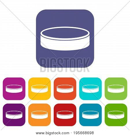 Puck icons set vector illustration in flat style In colors red, blue, green and other