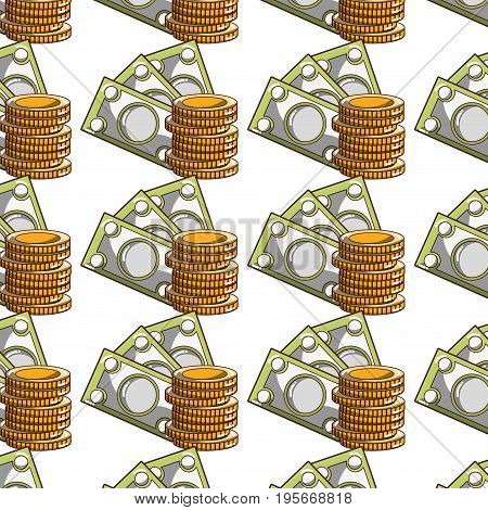bills and coins cash moey currency background vector illustration
