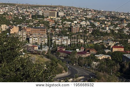 A beautiful view of Yerevan city during the day.