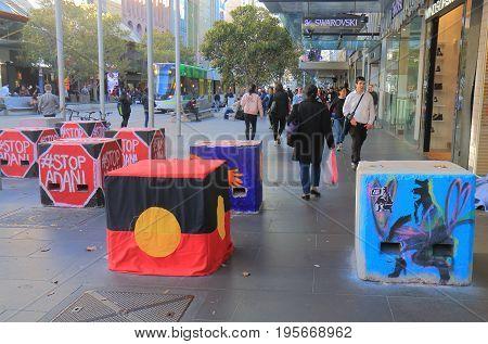MELBOURNE AUSTRALIA - JULY 7, 2017: Concrete bollards to prevent terrorism in downtown Melbourne.