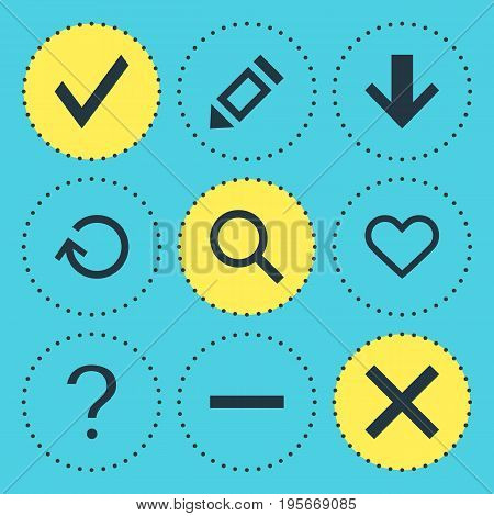 Vector Illustration Of 9 User Icons. Editable Pack Of Downward, Magnifier, Renovate And Other Elements.