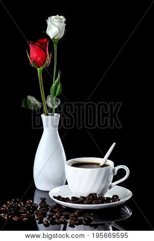 Composition Of Coffee, White And Red Rose On A Black Reflective Background