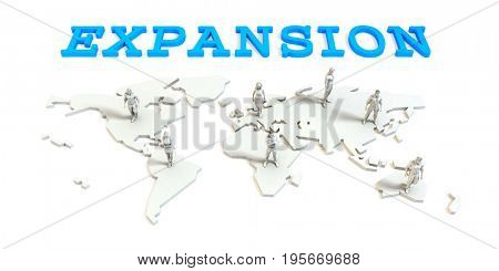 Expansion Global Business Abstract with People Standing on Map 3D Illustration Render