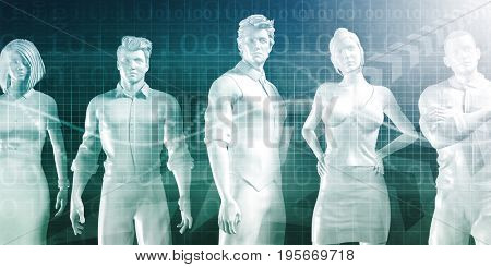 Business People Standing in a Row Confident 3D Illustration Render