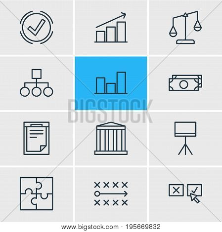 Vector Illustration Of 12 Management Icons. Editable Pack Of File, Scheme, Building And Other Elements.