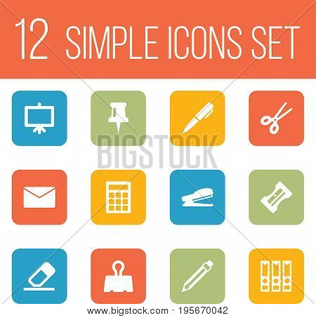 Set Of 12 Tools Icons Set.Collection Of Binder, Ink, Puncher And Other Elements.