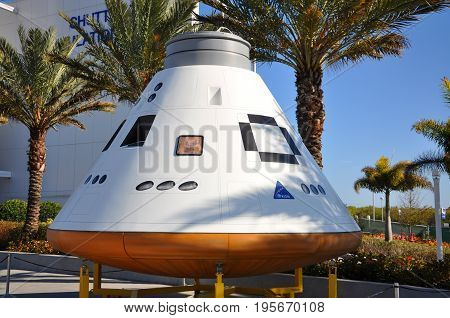 FLORIDA, USA - DEC 20, 2010: Orion spacecraft model in the John F. Kennedy Space Center in Florida, USA.