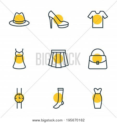 Vector Illustration Of 9 Dress Icons. Editable Pack Of Evening Dress, Apparel, Hosiery And Other Elements.