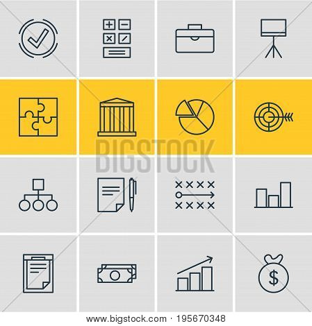 Vector Illustration Of 16 Trade Icons. Editable Pack Of Tactics, Portfolio, Columns And Other Elements.