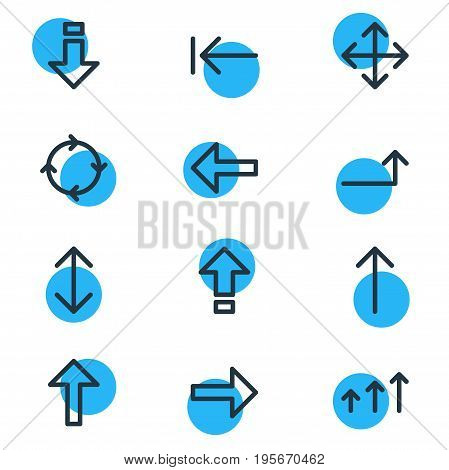 Vector Illustration Of 12 Direction Icons. Editable Pack Of Exchange, Widen, Tab And Other Elements.