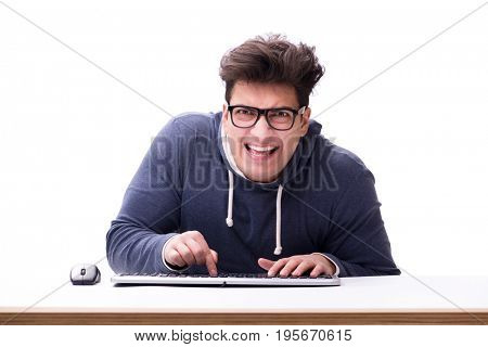 Funny nerd man working on computer isolated on white