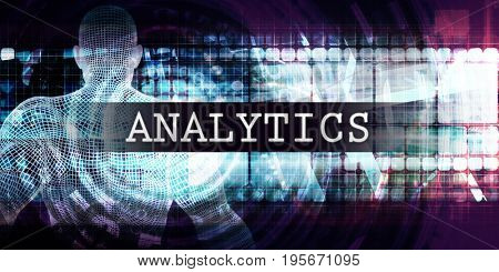 Analytics Industry with Futuristic Business Tech Background 3D Illustration Render