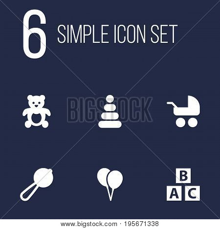 Set Of 6 Child Icons Set.Collection Of Bear, Pram, Toy And Other Elements.