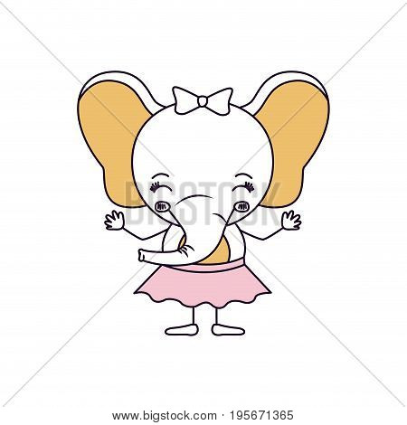 silhouette color sections caricature of cute expression and eyes closed of female elephant in skirt with bow lace vector illustration