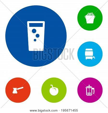 Set Of 6 Drinks Icons Set.Collection Of Cask, Fridge, Soda And Other Elements.