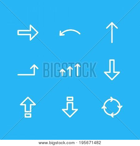 Vector Illustration Of 9 Direction Icons. Editable Pack Of Increase, Down, Download And Other Elements.