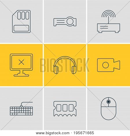 Vector Illustration Of 9 Laptop Icons. Editable Pack Of Presentation, Router, Qwerty Board And Other Elements.