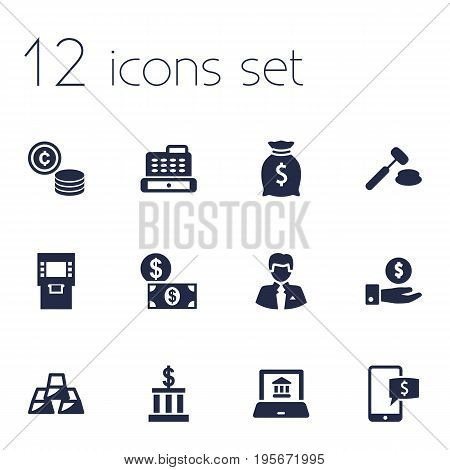 Set Of 12 Finance Icons Set.Collection Of Save Money, Worker, Judge And Other Elements.