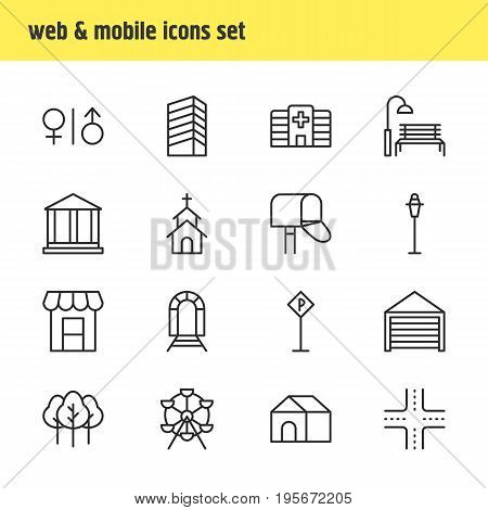 Vector Illustration Of 16 Urban Icons. Editable Pack Of Lamppost, Awning, Building And Other Elements.
