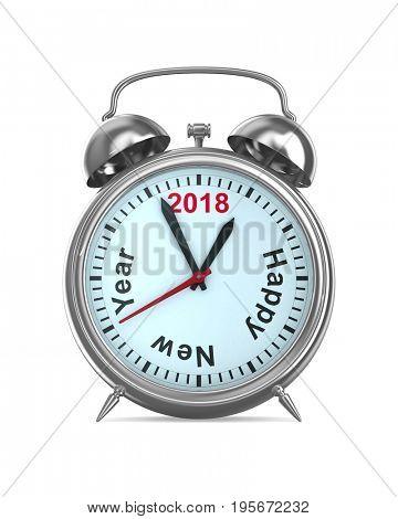 2018 year on alarm clock. Isolated 3D illustration