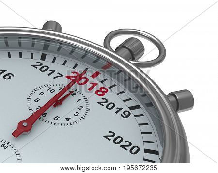 year calendar on stopwatch. Isolated 3D illustration