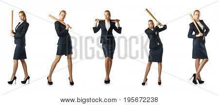 Businesswoman with baseball bat on white