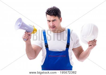 Repairman with megaphone and a digging axe on white background i