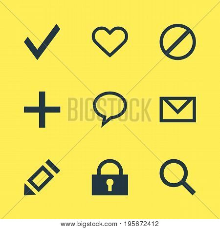 Vector Illustration Of 9 Interface Icons. Editable Pack Of Magnifier, Talk Bubble, Plus And Other Elements.