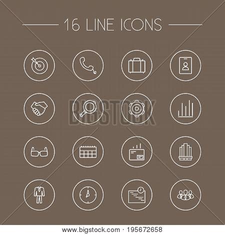 Set Of 16 Trade Outline Icons Set.Collection Of Handset, Handshake, Glasses Elements.