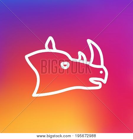 Isolated Rhinoceros Outline Symbol On Clean Background. Vector Rhino Element In Trendy Style.