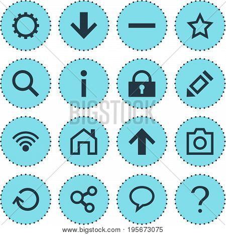 Vector Illustration Of 16 Interface Icons. Editable Pack Of Magnifier, Pen, Downward And Other Elements.