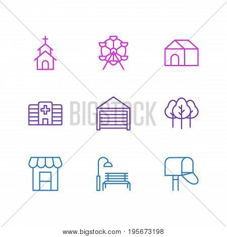 Vector Illustration Of 9 Public Icons. Editable Pack Of Forest, Bench, Parking And Other Elements.