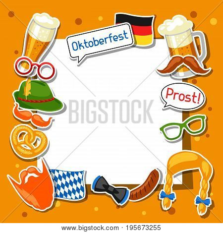 Oktoberfest frame with photo booth stickers. Design for festival and party.