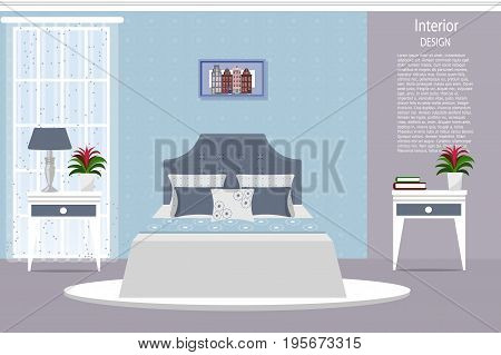 The interior of the bedroom. Cartoon. Flat design. Vector illustration. Furniture for the home.
