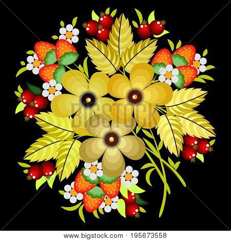 Russian Khokhloma painting , Russian style decoration and design element, vector graphics. Pattern for banners, posters, prints.