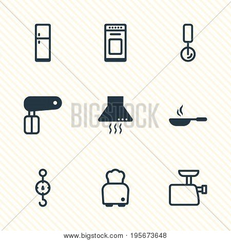 Vector Illustration Of 9 Cooking Icons. Editable Pack Of Steelyard, Round Slicer, Oven And Other Elements.