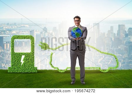 Electric car concept in green environment concept