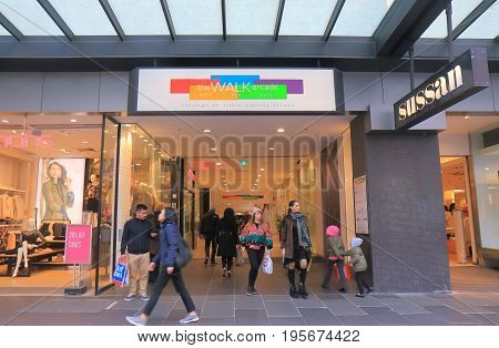 MELBOURNE AUSTRALIA - JULY 7, 2017: Unidentified people visit Walk Arcade in downtown Melbourne.