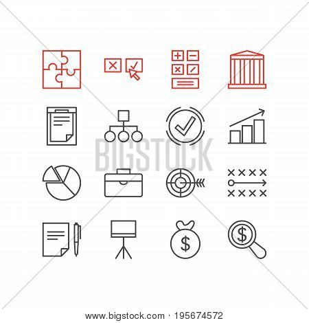 Vector Illustration Of 16 Business Icons. Editable Pack Of Magnifier, Columns, Calculate And Other Elements.