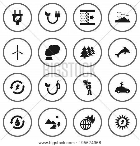 Set Of 16 Bio Icons Set.Collection Of Rubbish, Treatment, Fish And Other Elements.