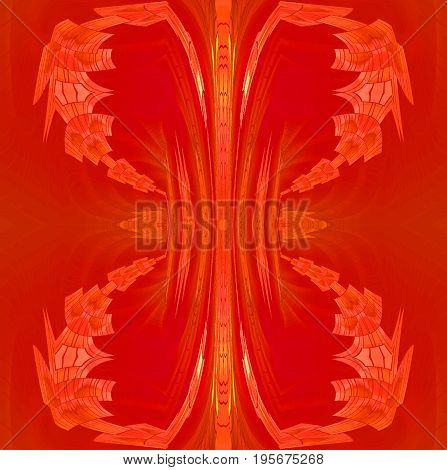 Abstract geometric background dimensional. Regular conspicuous ornament in red, orange and ocher shades.