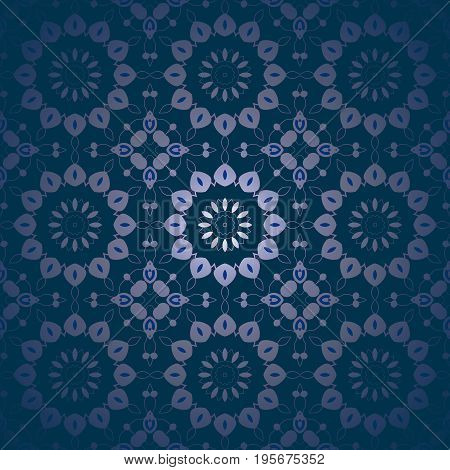 Abstract geometric floral background. Regular round purple blossoms on dark blue, centered and dreamy.