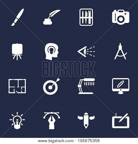 Set Of 16 Constructive Icons Set.Collection Of Writing, Arrow, Brush And Other Elements.