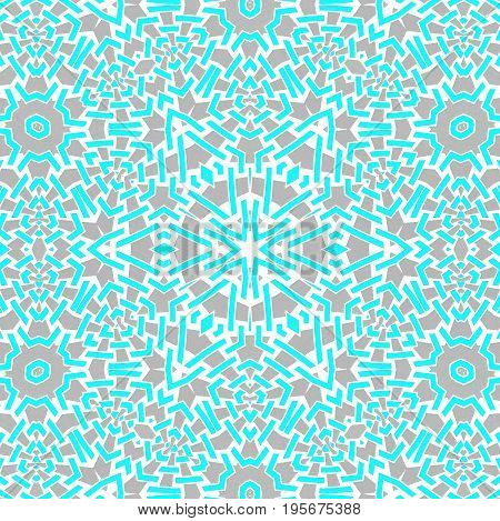 Abstract geometric background. Regular intricate centered star ornament turquoise blue, gray and white, ornate and extensive.