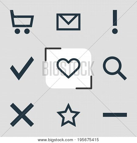 Vector Illustration Of 9 Member Icons. Editable Pack Of Asterisk, Magnifier, Minus And Other Elements.