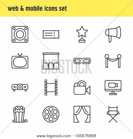 Vector Illustration Of 16 Cinema Icons. Editable Pack Of Television, Loudspeaker, Hall And Other Elements.