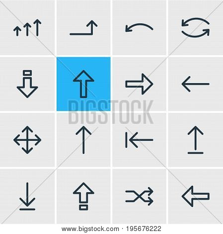 Vector Illustration Of 16 Arrows Icons. Editable Pack Of Update, Down, Up And Other Elements.